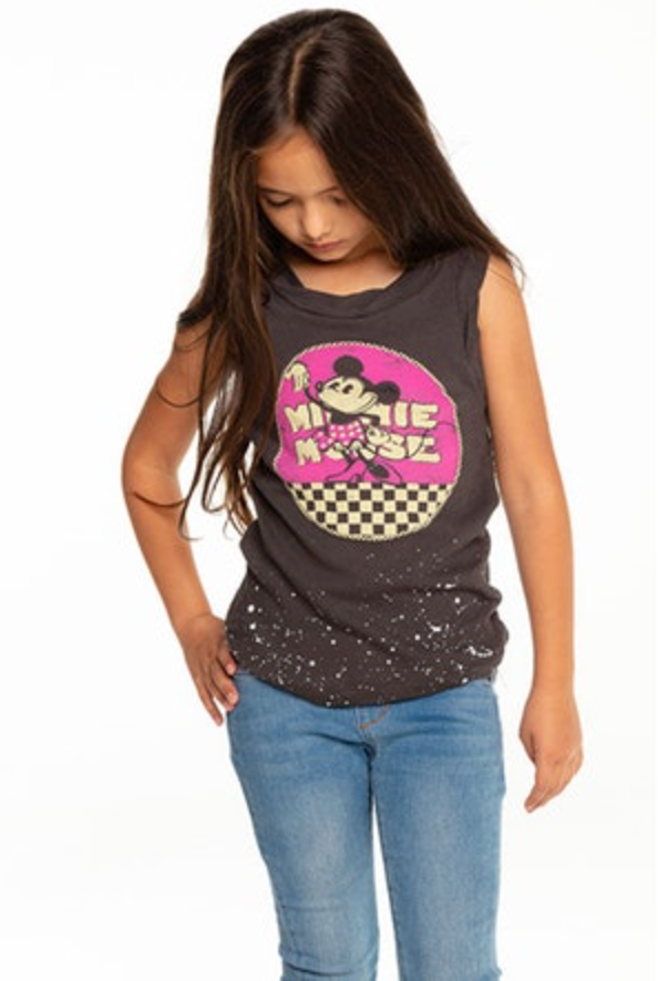 CHTW158-MIN033 GIRLS GAUZY COTTON ROLLED ARMHOLE MUSCLE TANK - T. Georgiano's