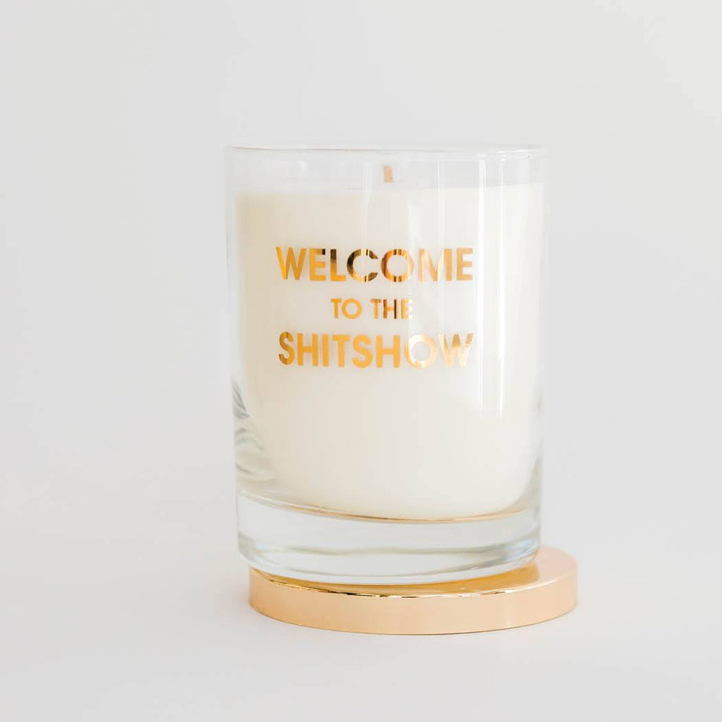 WELCOME TO THE SHITSHOW CANDLE - GOLD FOIL ROCKS GLASS - T. Georgiano's