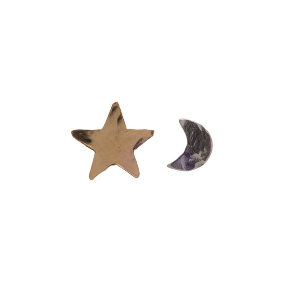Tiny Star and Moon Studs