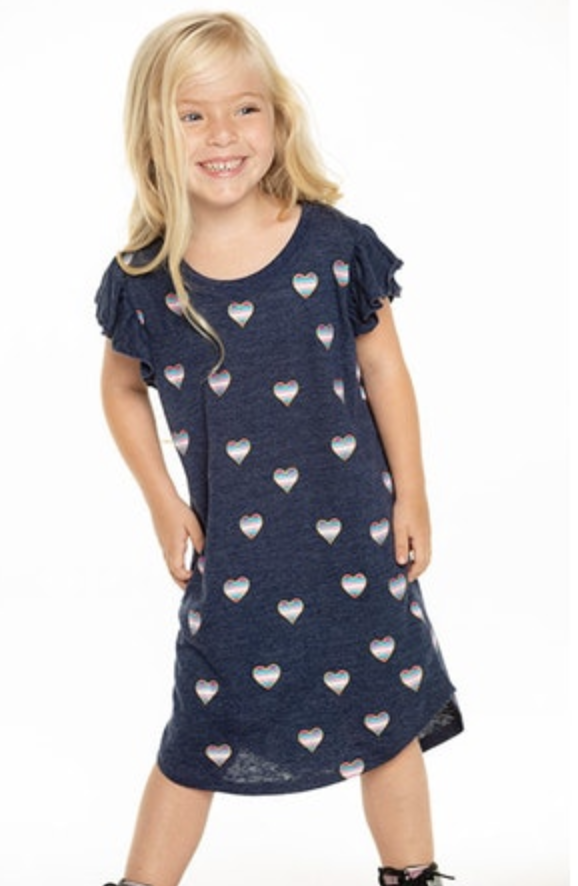 GIRLS TRIBLEND FLUTTER SLEEVE SHIRTTAIL DRESS - T. Georgiano's