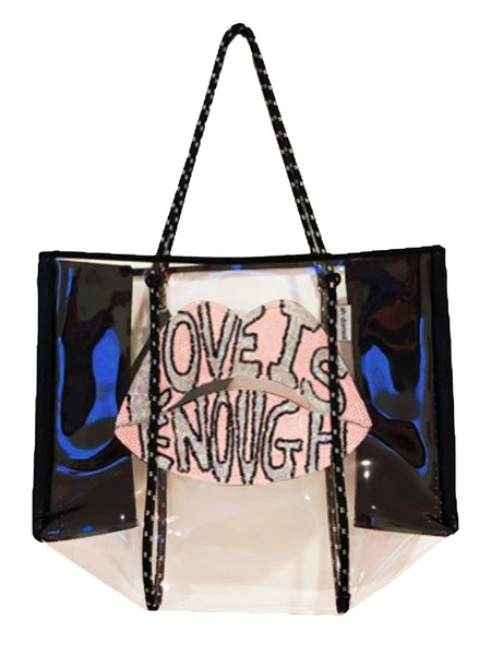 """LOVE IS ENOUGH"" Clear Plastic Tote - T. Georgiano's"