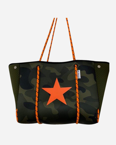 Army Camo Neoprene Tote w/Orange Ropes & Star - T. Georgiano's