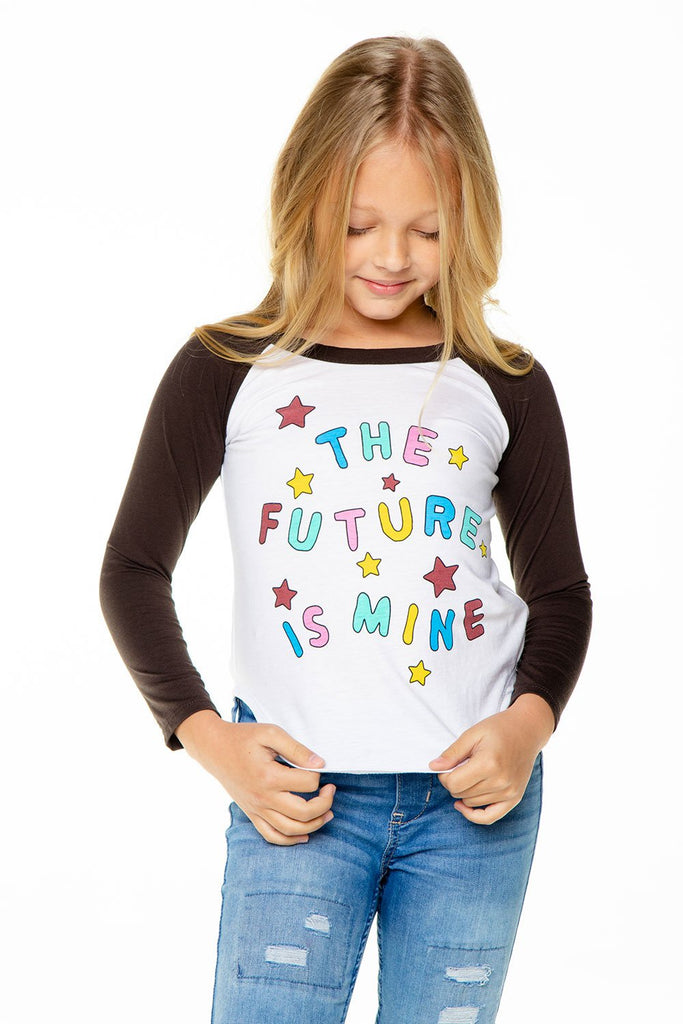 MY FUTURE GIRLS RECYCLED VINTAGE JERSEY LONG SLEEVE BASEBALL TEE - T. Georgiano's