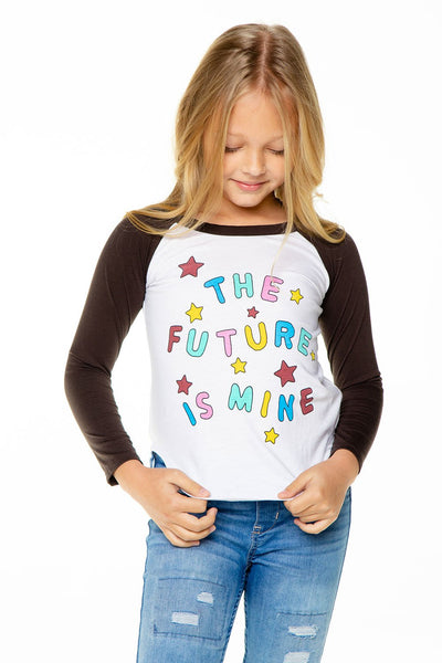 MY FUTURE GIRLS RECYCLED VINTAGE JERSEY LONG SLEEVE BASEBALL TEE