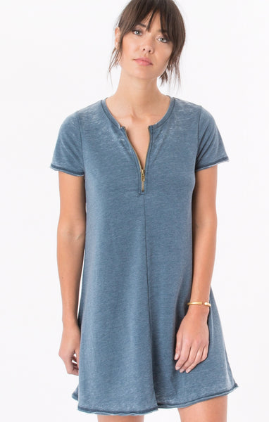 Z Supply The Front Zip Swing Dress Orion Blue - T. Georgiano's