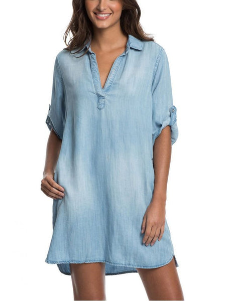 VTD5085 Denim Dress 3/4 - T. Georgiano's