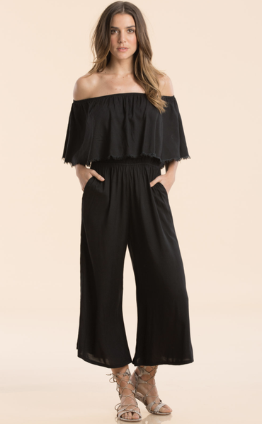 OFF SHOULDER COULOTTE ROMPER - T. Georgiano's