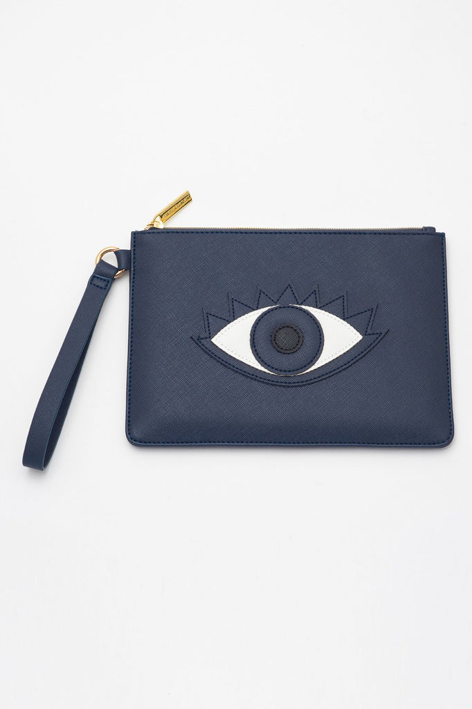 EBP4114 NAVY LUCKY EYE APPLIQUE POUCH - T. Georgiano's