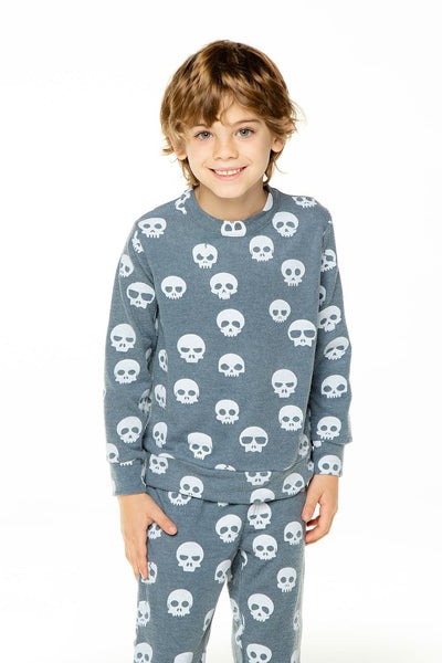 SKULL PARTY BOYS LOVE KNIT LONG SLEEVE CREW NECK PULLOVER