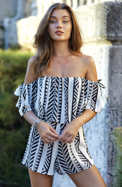 Black Tribal Off Shoulder Romper