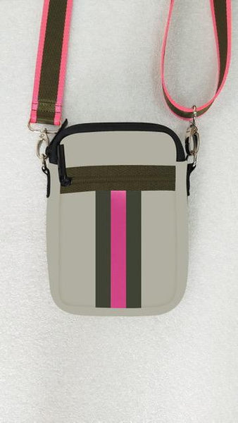 Casey Crossbody - Swank (Putty/Hot Pink) - T. Georgiano's