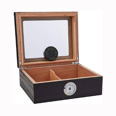 Capri Glasstop Humidor 25-50 Cigars Black Oak