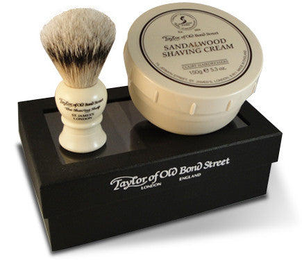 Badger Hair Brush and Sandalwood cream Gift Set