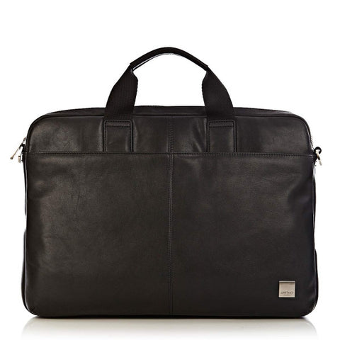 "DURHAM 15"" Slim Leather Briefcase Black"
