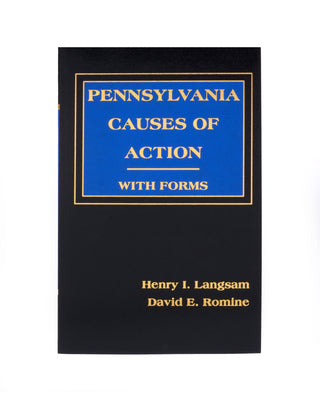 Pennsylvania Causes of Action With Forms (Includes book + digital download)