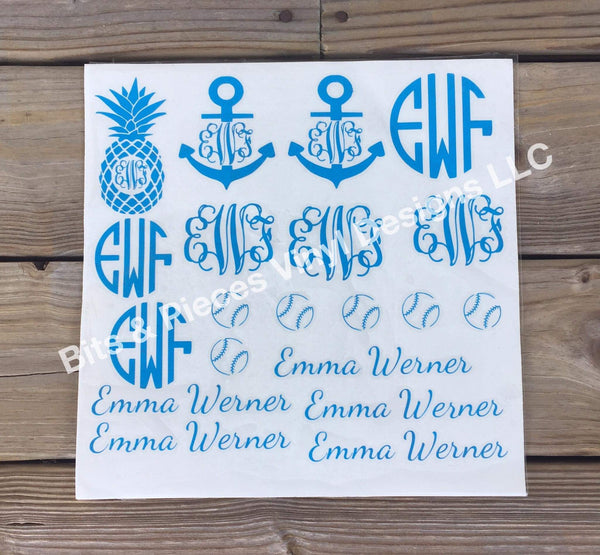 Personalized or Subject Decal Sheet
