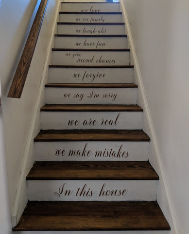 "Custom ""In this house..."" Stair Decals"