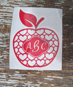 Work of Heart Apple Monogram Decal