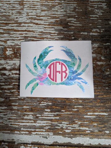 Crab Pattern Monogram Decal