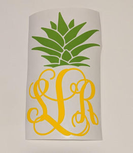 Monogram Pineapple Decal - Bits & Pieces Vinyl Designs LLC