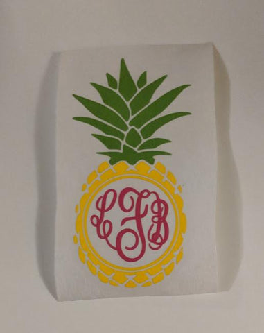Pineapple Mongram Decal - Bits & Pieces Vinyl Designs LLC