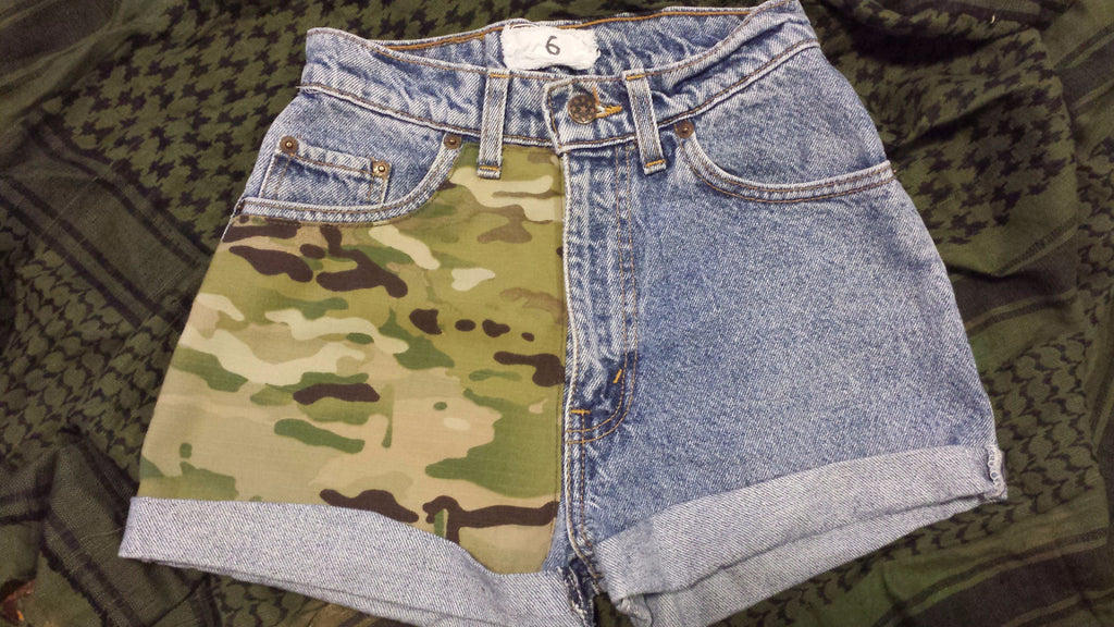 Vintage high waist Levis with Multicam camouflage