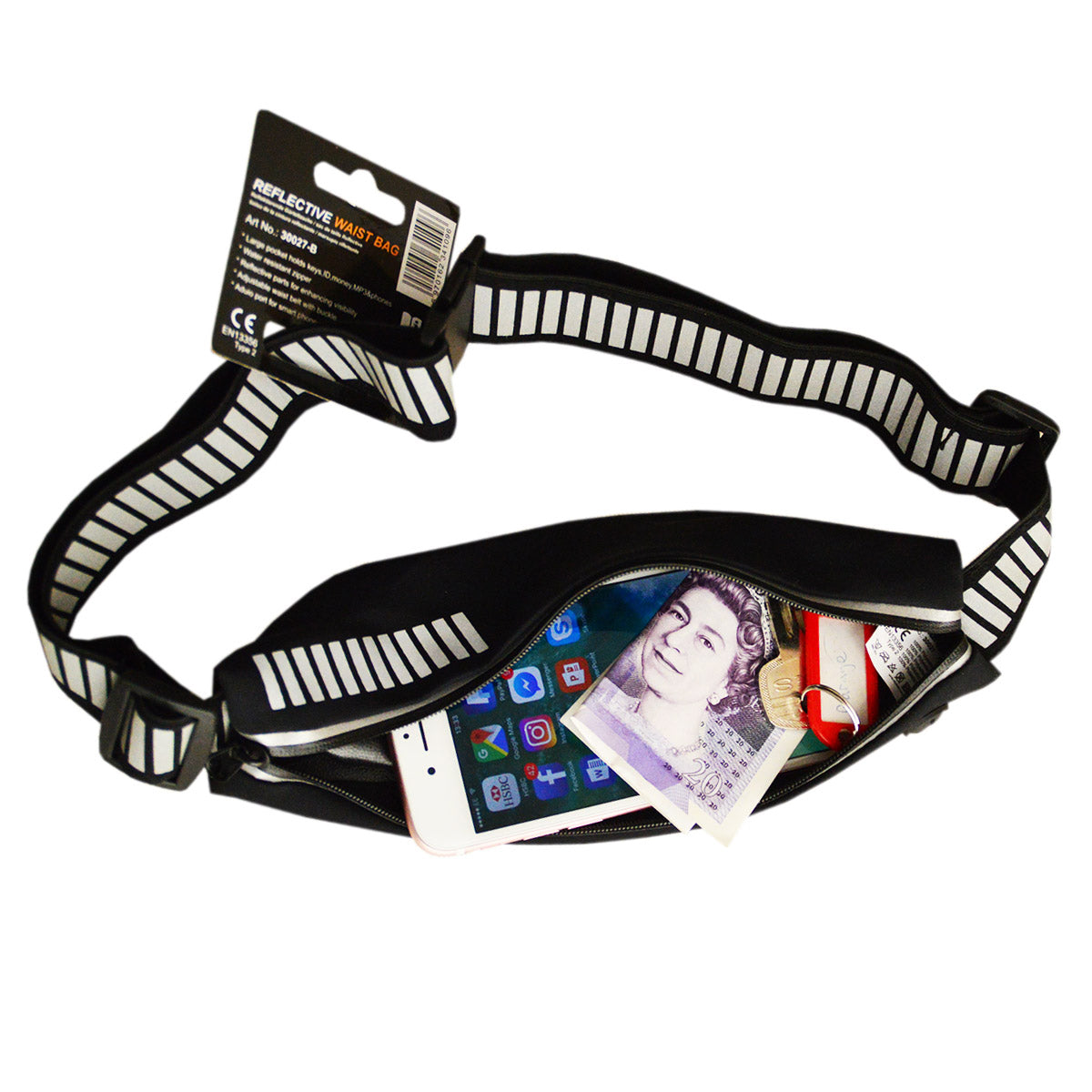 Salzmann 3M Scotchlite Reflective Waist Bag - Black