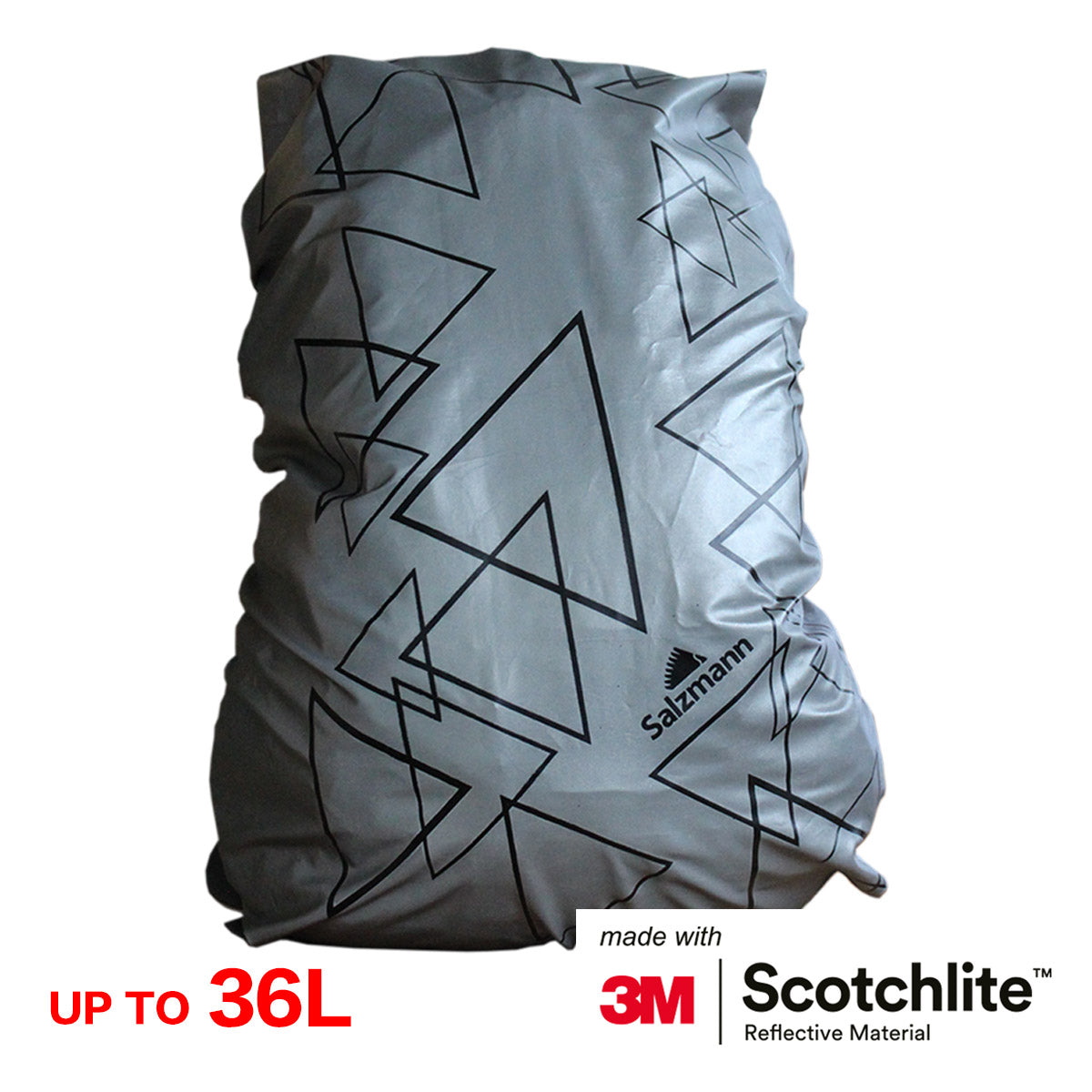 923635d3e073 ... Salzmann 3M Scotchlite Reflective Waterproof Rucksack Cover (Silver  Triangles) ...