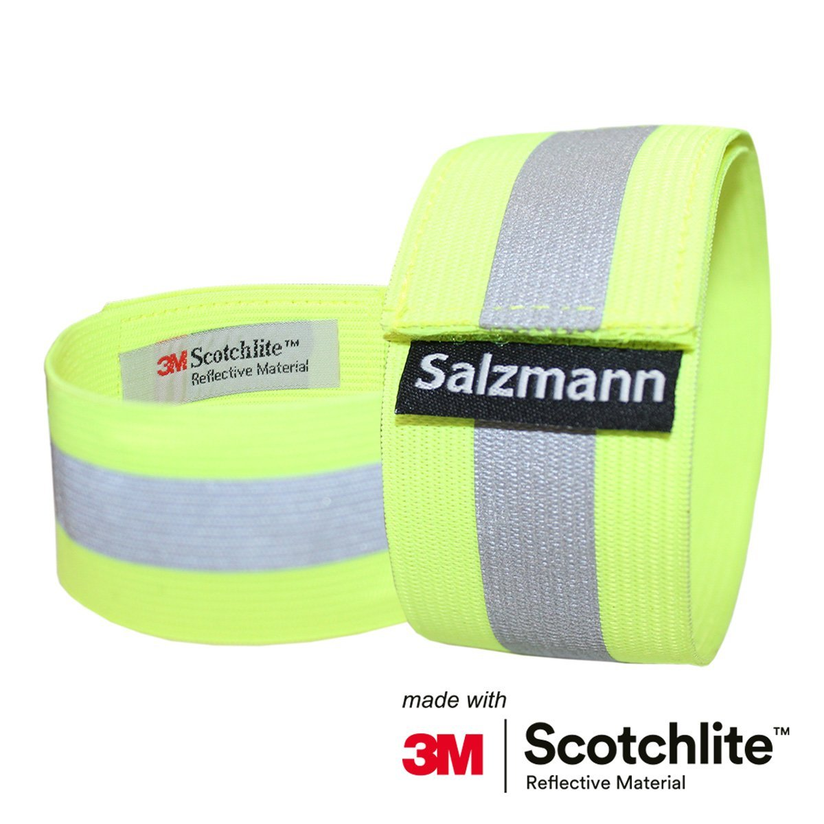 Salzmann 3M Scotchlite Reflective Elastic Arm Bands x2 Fluorescent Yellow