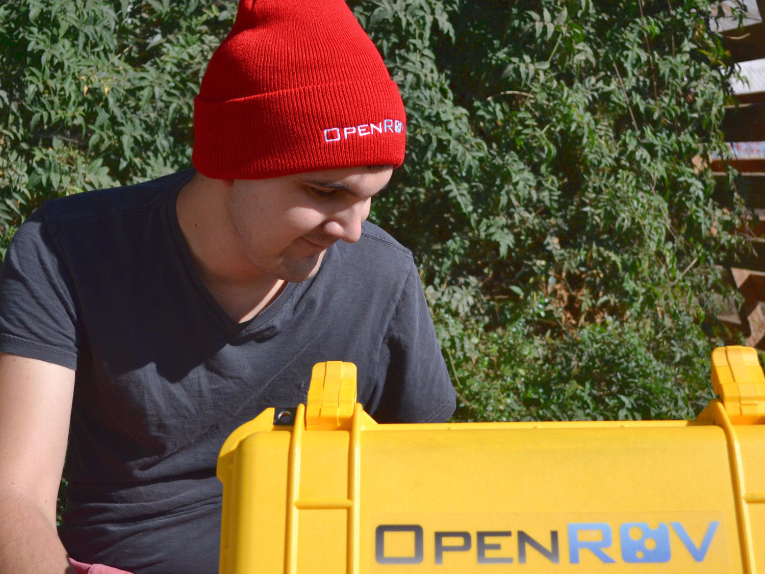 Red beanie with OpenROV logo