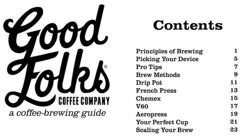 Coffee Brewing Guide Table of Contents