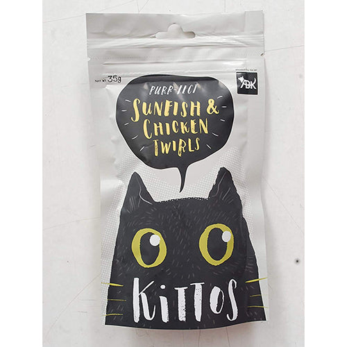 Kittos Sunfish and Chicken Twirls Cat Treat 35 g