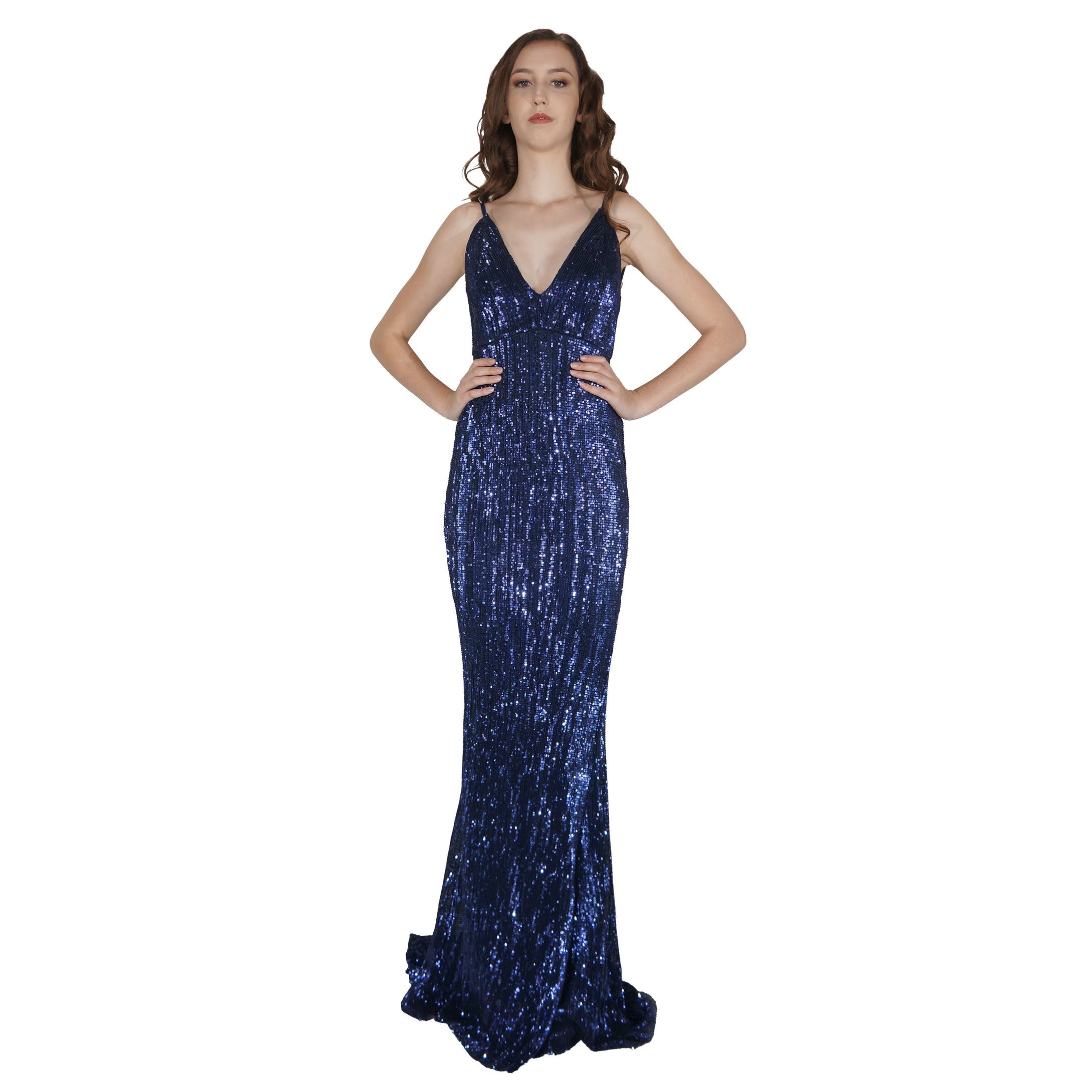 Long Backless Navy Sequin Evening Dress Envious Bridal & Formal