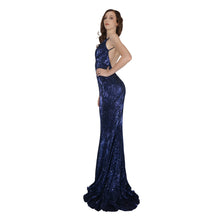 Load image into Gallery viewer, Long Backless Navy Sequin Ball Dresses Envious Bridal & Formal
