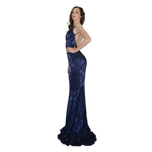 Long Backless Navy Sequin Ball Dresses Envious Bridal & Formal