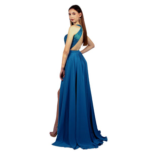 ARELLA | Lace & Chiffon Teal Formal Dress - All Products Envious Bridal