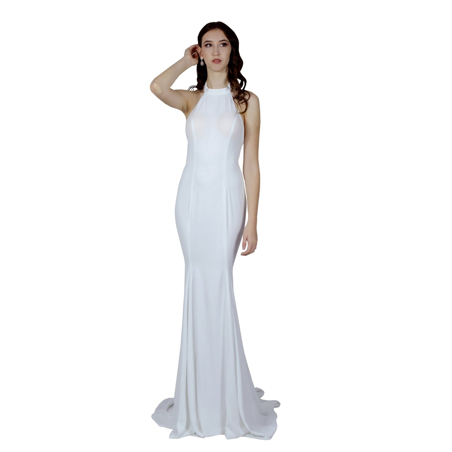 Halter neck silk crepe wedding dress Envious Bridal & Formal Perth