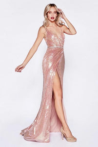ARLETTE | Rose Gold Sequin Wrap Look Evening Dress - All Products Envious Bridal