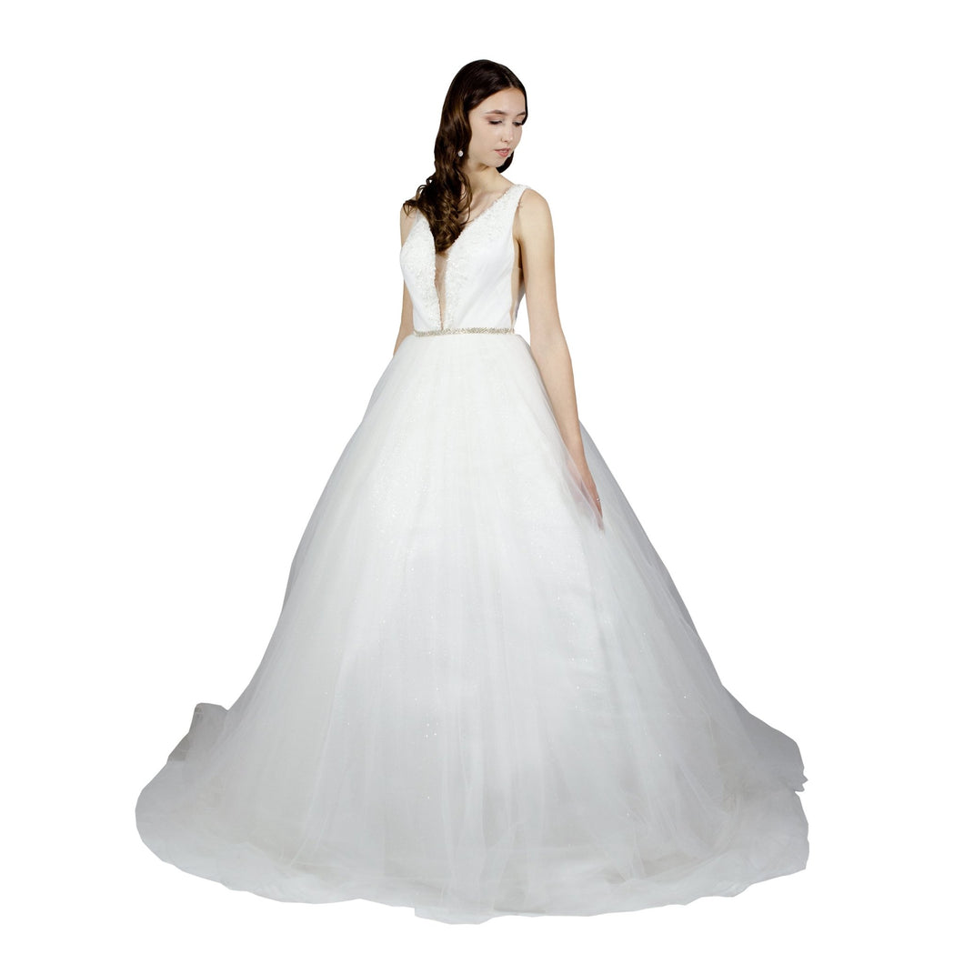 V neck tulle ball gown wedding dress Envious Bridal & Formal Perth