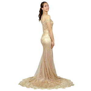 AURORA | Off The Shoulder Glitter Mermaid Gold Formal Dress - All Products Envious Bridal