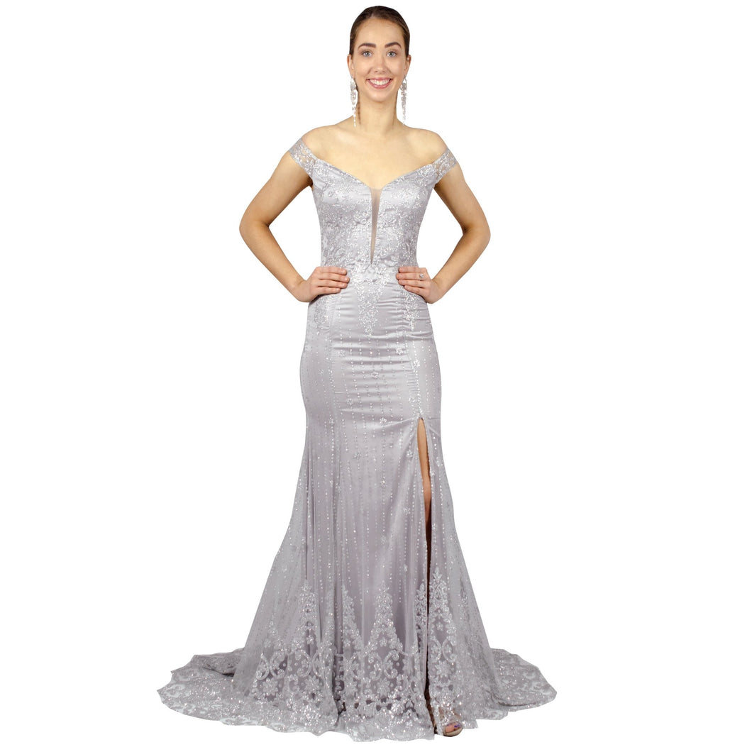 AURORA | Off The Shoulder Glitter Mermaid Silver Formal Dress - All Products Envious Bridal