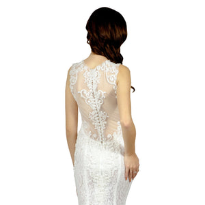 BEATRISA | Illusion Back Embroidered Lace Wedding Dress - Wedding Dress Envious Bridal & Formal