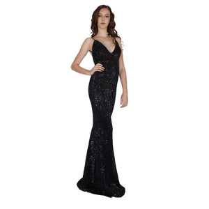 Long Backless Black Sequin Formal Dresses Envious Bridal & Formal