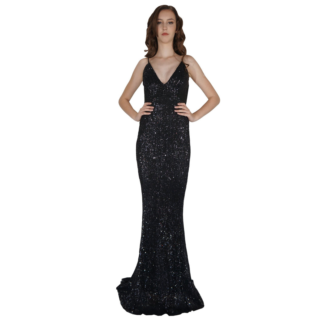 BETTINA | Long Backless Black Sequin Evening Dress - All Products Envious Bridal