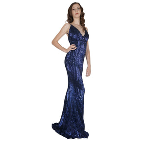 Long Backless Navy Sequin Formal Dresses Perth Envious Bridal & Formal