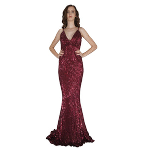 BETTINA | Long Backless Burgundy Sequin Evening Dress - All Products Envious Bridal
