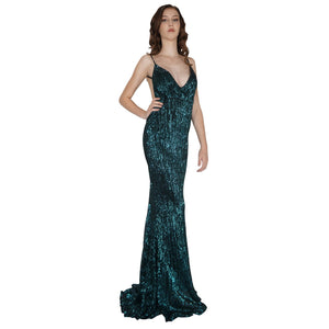 Long Backless Emerald Sequin Formal Dresses Perth Envious Bridal & Formal