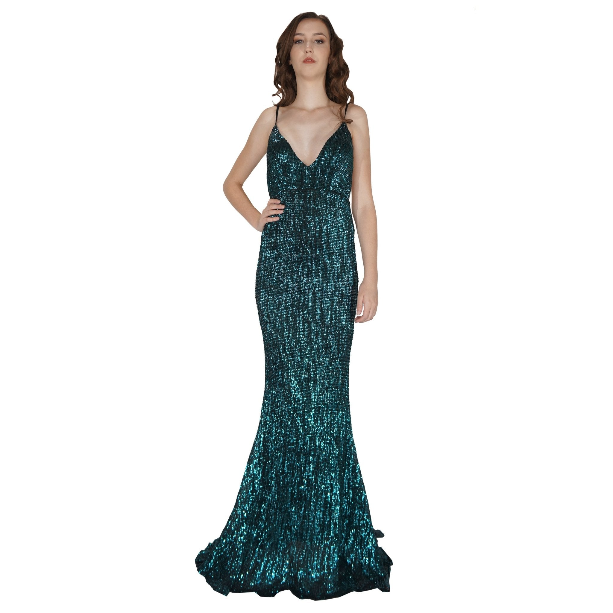 Long Backless Emerald Sequin Evening Dress Envious Bridal & Formal