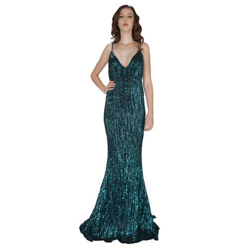 BETTINA | Long Backless Emerald Sequin Evening Dress - All Products Envious Bridal
