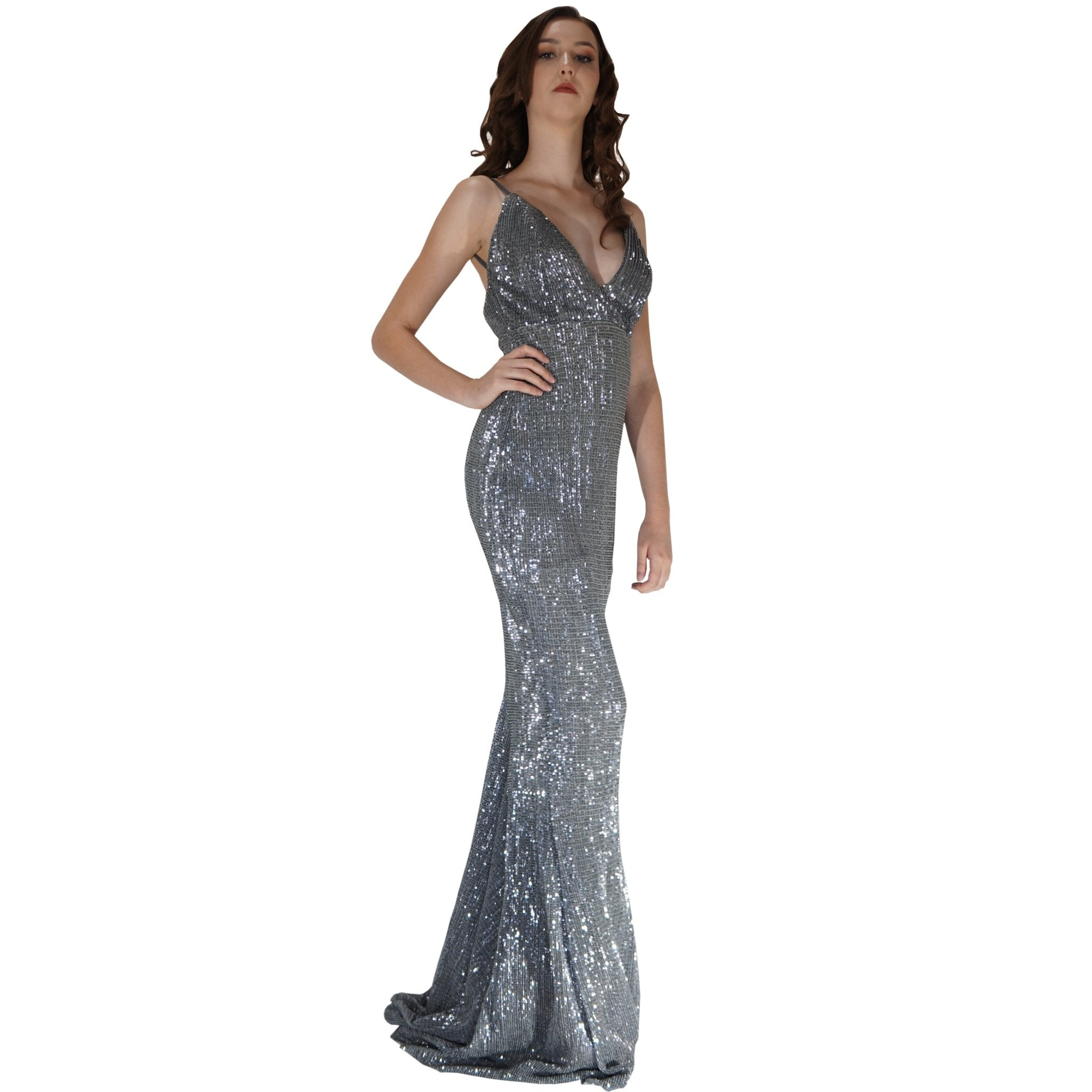 Long Backless Grey Sequin Evening Dress Envious Bridal & Formal